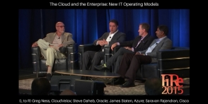 (L to R) Greg Ness, CloudVelox; Steve Daheb, Oracle; Azure James Staten; Cisco's Saravan Rajendran